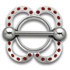 Brustwarzenschild Blume 925 Silber mit Swarovski Kristallen