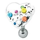 Piercing gebogen Bauchnabel Chirurgenstahl - Design Herz 925 Sterling Silber