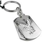 Playboy-Schlüsselanhänger 2-teilig mit weißen Kristallen