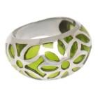 Stahlring mit grünem Acryl Farbflächen