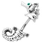 Bauchnabel Piercing mit doppeltem Design - Seepferdchen mit kleinen Swarovski Steinen als Augen
