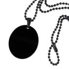 Ovaler Edelstahlanhänger mit schwarzer PVD-Beschichtung