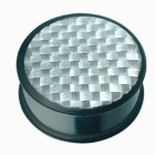 Ohrplug aus schwarzem Acetal mit einer silbernen Carbonfaser-Einlage