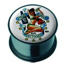Plug aus Acetal  mit PIN-UP Motiv - and tattoed