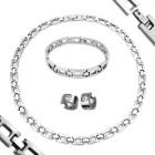 Mehrteiliges Set aus Edelstahl - Collier, Armband und Ohrringe