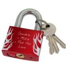 Liebesschloss rot aus Aluminium 50mm mit Flammen Motiv und Ihrer individuellen Gravur
