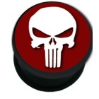 Picture Plugs Acetal 16.0mm,SKULL RED