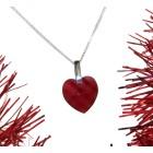 Rote Herz-Zirkonie mit Silberkettchen