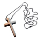 Edelstahl Anhänger Kreuz bicolor