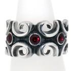 Schwerer Ring aus 925 Sterling Silber, oxidiert, mit Kristallen