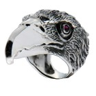 Massiver Ring aus 925 Sterling Silber, oxidiert. Motiv Raubvogel