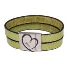 Echtlederarmband lindgrün, bestickt, Magnet-Verschluss Edelstahl, mit individueller Gravur