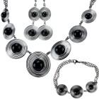 SET BLACK BALLS: Collier, Armband und Ohrringe mit schwarzen Achat Kugeln