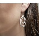 Ohrhänger oval aus 925 Silber und kleinen klaren Kristallsteinen