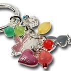 multi dangle mini bunny heads and glass stone bead