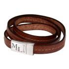 Echtlederarmband hellbraun mit Ziernath, dreifach gewickelt mit Edelstahl Magnetverschluss  #size# und individueller Gravur