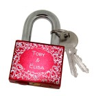 Rotes Aluminiumschloss - Liebesschloss mit Wunschgravur 50mm