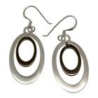 Ohrhänger oval aus 925 Silber mit teilweiser grauer PVD-Beschichtung