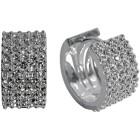 Ohrcreole 925 Sterling Silber 5-reihig mit Steinen besetzt, groß