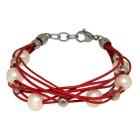 Lederarmband rot mit weißen und silbernen Kunstperlen
