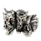 Schwerer Ring aus 925 Sterling Silber, Motiv Dämonen