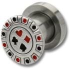 Ohrplug mit Poker Design 4-16mm