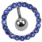 Bauchnabel Piercing Chirurgenstahl mit in Silber gefasstem Kristallkranz