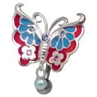 Piercing gebogen Bauchnabel Schmetterling Chirurgenstahl und Silber