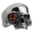 Schwerer Silberring Totenkopfmit rotem Auge