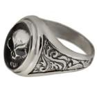 Schwerer Silberring Motiv Totenkopf aus 925 Sterling Silber, oxidiert