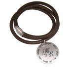 Echtlederarmband aus Nappaleder bronzefarbig mit rundemSilberanhänger, doppelt gewickelt   #size# mit Edelstahl Magnetverschluß