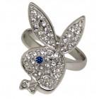 Playboy Ring Bunny mit blauem Glitzer-Auge