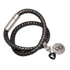 Echtlederarmband dunkelgrau mit Python-Print doppelt gewickelt mit rundem Anhänger und schwarzem Kristallherz  Edelstahl Magnet