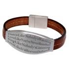 Echtlederarmband braun mit Edelstahl Magnetverschluss und individueller Gravur auf großer Edelstahl-Platte
