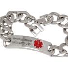 Schweres Medi-Armband aus Edelstahl mit Äsculap-Stab und individueller Gravur
