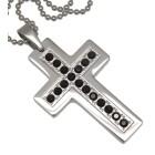 Anhänger Stahl - Kreuz mit Kristallen