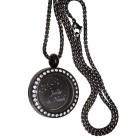 Runder Anhänger aus Edelstahl PVD schwarz mit Kristallen - personalisiert