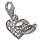 Charm-Anhänger Fliegendes Herz aus 925 Sterling Silber