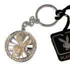 PLAYBOY Schlüsselanhänger versilbert mit drehbarem weißen Hasenkopf und Kristallen