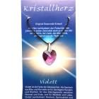 Swarowski Kristallherz mit Kordelkette und Karte - violett