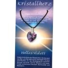 Swarowski Kristallherz mit Kordelkette und Karte - helles violett