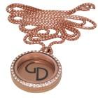 Runder Anhänger aus Edelstahl PVD rosé-gold mit Kristallen personalisiert