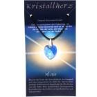 Swarowski Kristallherz mit Kordelkette und Karte - dunkel blau