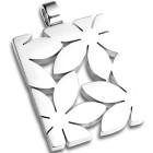 Edelstahl-Kettenanhänger rechteckig mit ausgestanzten Blumen