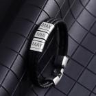 Armband aus Leder schwarz, mit 3 Elementn aus Edelstahl mit individueller Gravur  #size#