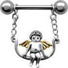 Brustwarzen Piercing ENGEL, der Engel mit den goldenen Flügeln  schaukelt