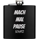 Das lohnt sich: Flachmann gross aus Edelstahl schwarz PVD-beschichtet mit individueller Gravur 169.8ml