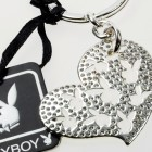 Swarovski crystal heart with cutout bunnies key ch
