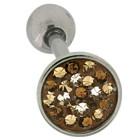 Zungenpiercing aus Chirurgenathl in 1.6mm Stärke mit Kristallsteinen in verschiedenen brauntönen