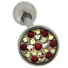 Zungenpiercing aus Chirurgenstahl in 1.6mm Stärke mit Kristallsteinen in verschiedenen Farbtönen